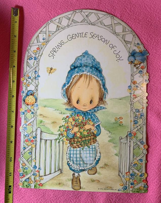 """Vintage 1979 Betsey Clark 12"""" Spring Blue Birds Die Cut Hallmark Decoration 70s"""