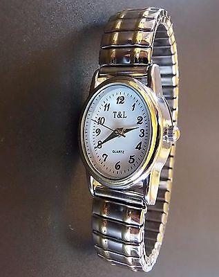 Quarz UHR Flexband Zugarmband Damen Armbanduhr bicolor Edelstahl Metallzugband