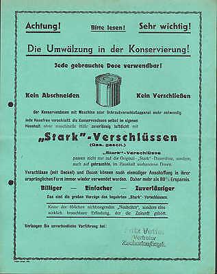 Werbung 1936, Stark-Verschlüsse für Dosen Dose Metall Blech