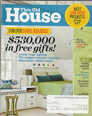 This Old House Magazine August 2013 Back Issue Free Shipping
