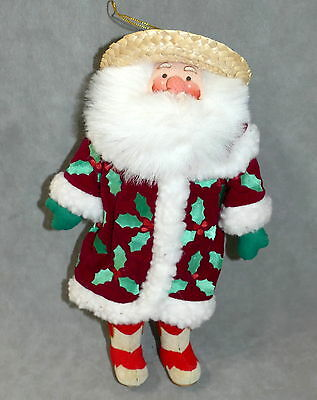 Christmas Ornament Decoration Figurine Santa High Quality Velvet Faux Fur 1980s