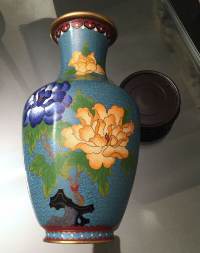 "Vintage 10.25"" Chinese Traditional Blue Cloisonné Handmade Floral Vase"