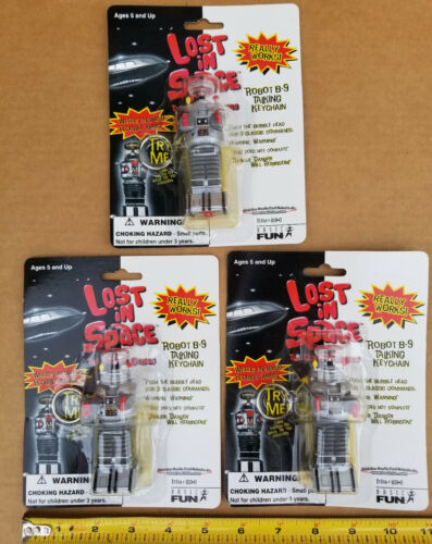 Lost in Space Robot B-9 Talking Keychain ( 3 - Pack Set ) 1997 NEW SEALED TOYS