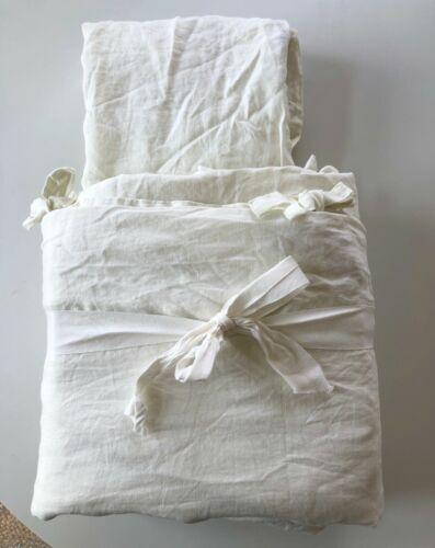 Pottery Barn Belgian Flax Linen DUVET COVER Ties 2 SHAMS KING /CAL Classic Ivory