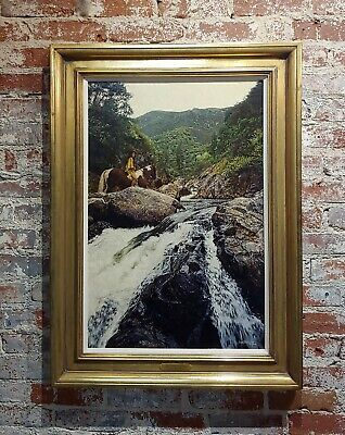 Craig Tennant -Indian Woman on Horseback in a Beautiful Landscape-Oil painting
