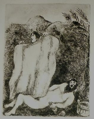 Marc Chagall Original Biblical  Etching, The Drunkenness of Noah