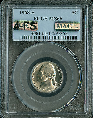 Click now to see the BUY IT NOW Price! 1968 S JEFFERSON NICKEL PCGS MAC MS66 4FS PQ  SPOTLESS .