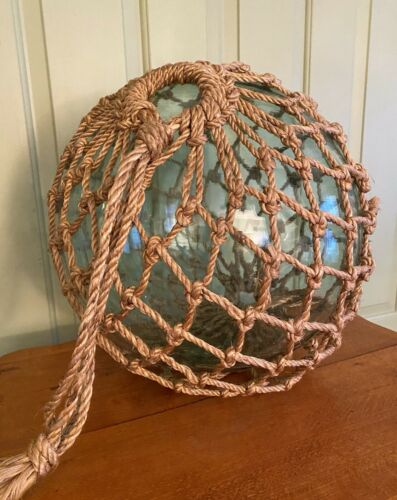"Huge Antique Glass Fishing Float Buoy Roped Net 16"" Diameter!"