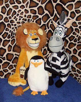 Madagascar lot of 3 Alex Marty & Skipper Lion Zebra & Penguin Stuffed Animals
