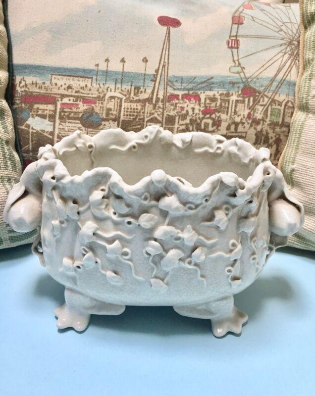 Beige Ornate Cachepot Porcelain Planter EXC