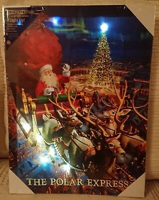 THE POLAR EXPRESS LED LIGHT UP CANVAS - SANTA CHRISTMAS THEME - NEW