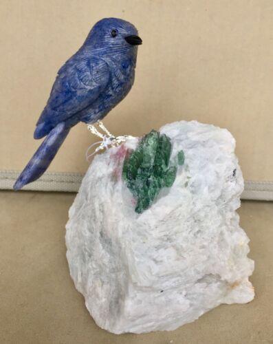 "Mountain  Bluebird on Base of Tourmaline in Albite 6 3/4"" -Peter Muller"
