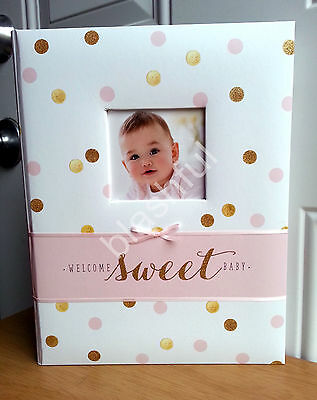 Carters Pink Gold Glitter Polka Dot Sweet Sparkle Baby Girl Memory Keepsake Book