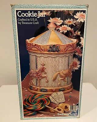 Vintage Treasure Craft USA Carousel Horse Merry Go Round Cookie Jar Early 1990s