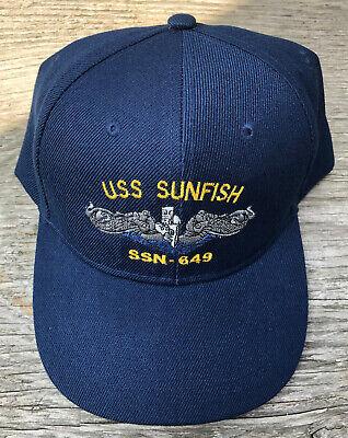USS Sunfish SSN-649 Ball Cap Embroidered Submarine Dolphins Veteran Navy Vet Hat (Ball Cap Navy)