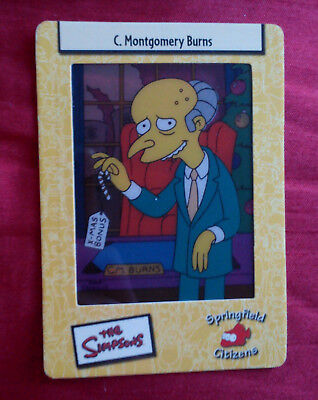 THE SIMPSONS 2003 FILM CELL CARD SPRINGFIELD CITIZENS # 19 C MONTGOMERY BURNS   (Montgomery Burns)