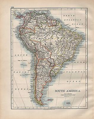1900 VICTORIAN MAP ~ SOUTH AMERICA FALKLAND ISLANDS ARGENTINA CHILE BRAZIL etc