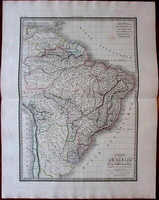 Brazil So. America 1854 Lapie large detailed folio fine old vintage antique map