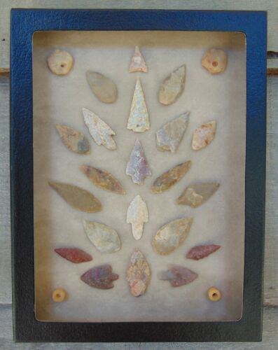 N1) 6X8 Framed Neolithic Artifacts display arrowheads beads points arrow head