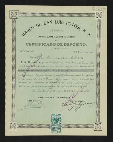 MEXICO B/21 BANCO DE SAN LUIS POTOSI Certificado de Depósito de $ 100,000 pesos