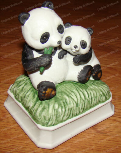 Panda Music Box (Gorham, Japan) Song: Love me Tender (On/Off) Porcelain Bisque