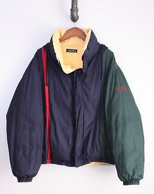 Nautica Reversible Color Block Puffer Coat XL Green Blue Red Yellow Down Filled Reversible Block