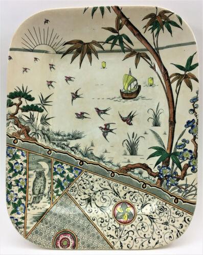 "Gildea & Walker MELBOURNE Aesthetic Movement Polychrome Platter~14""~ yr1881"
