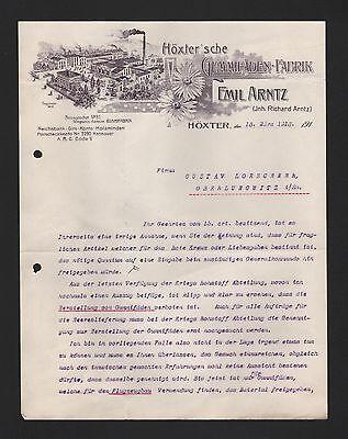 HÖXTER, Brief 1915, Emil Arntz Höxter'sche Gummifäden-Fabrik