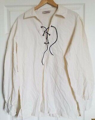 Cream Scottish Heritage Kilt Ghillie Jacobite laced  Shirt- LARGE 100% cotton