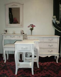 Shabby chic bedroom set 6 piece french country style furniture ivory off white ebay for White french country bedroom furniture