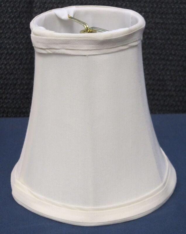 "Cream Chandelier Mini Lamp Shades Shantung Silk Bell Softback 3""x5""x5"" Set of 6"