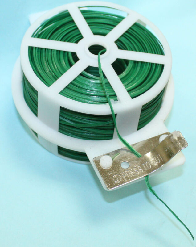 328FT 100M Kitchen Bag Gardening Plant Green Twist Tie Wire Roll With Cutter