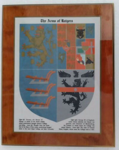 Rutgers University Coat of Arms wood wall plaque 12 1/4 x 15 1/2 inches