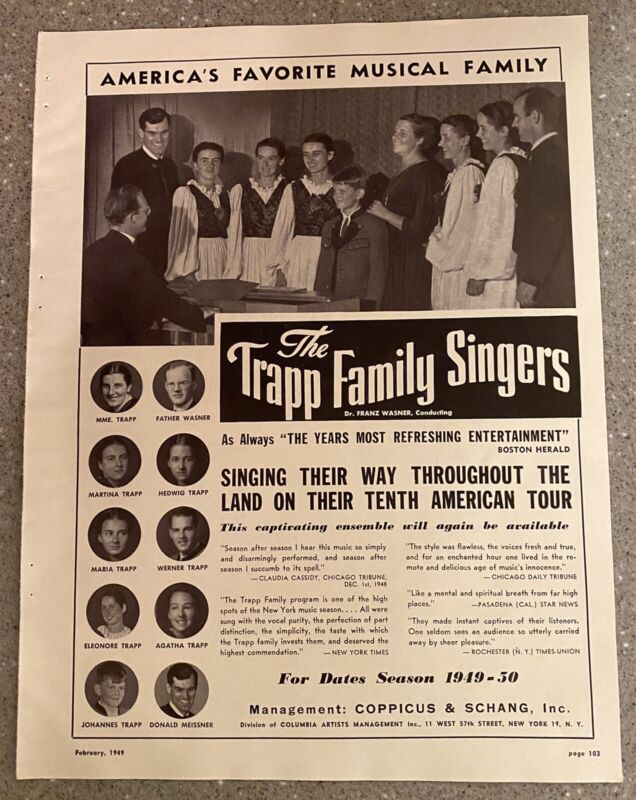 The Trapp Family Singers Authentic Vintage 1949 Print Ad The Sound of Music