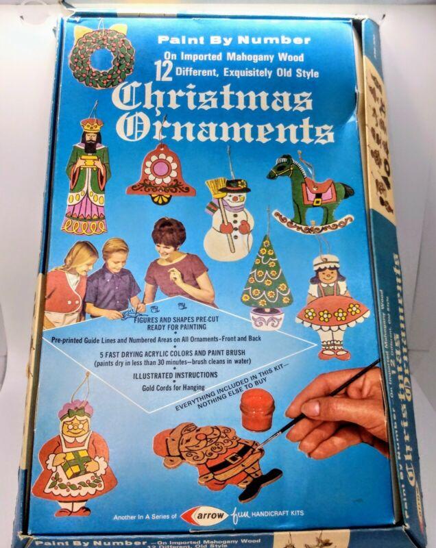Arrow Handicraft Paint by Number Christmas Ornament Kit Vintage 1970 Open Box