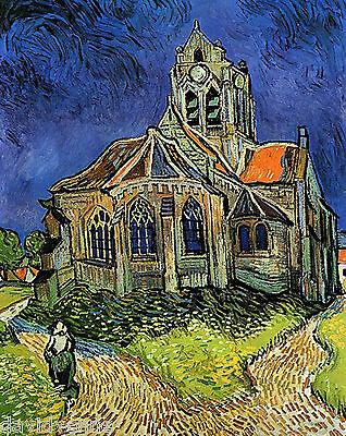 Impressionist Van Gogh Church at Auveres ACEO Canvas Giclee Print Art Card