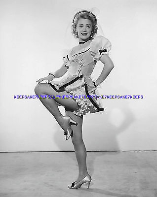 ACTRESS JUNE HAVOC LEGGY IN FISHNETS AND SHORTY COSTUME PHOTO A-JHAV2
