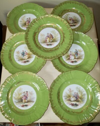 SEVEN Richard Briggs Boston Importer HAND PAINTED PLATES Courting Couples