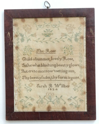 ANTIQUE SCHOOL TEACHER 1824 SARAH WILBER EMBROIDERY NEEDLEWORK SAMPLER THE ROSE