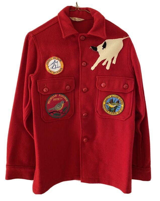VTG 1950 Boy Scouts Jacket Red Wool Blend Philmont Bull Michigan Audubon Society