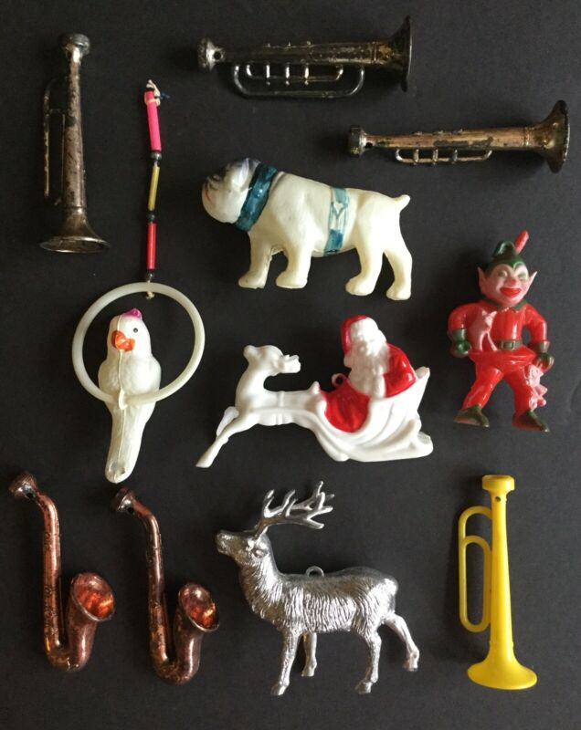 OLD VTG EARLY PLASTIC CELLULOID TOY DOG BIRD CHRISTMAS ORNAMENT LOT OF 11