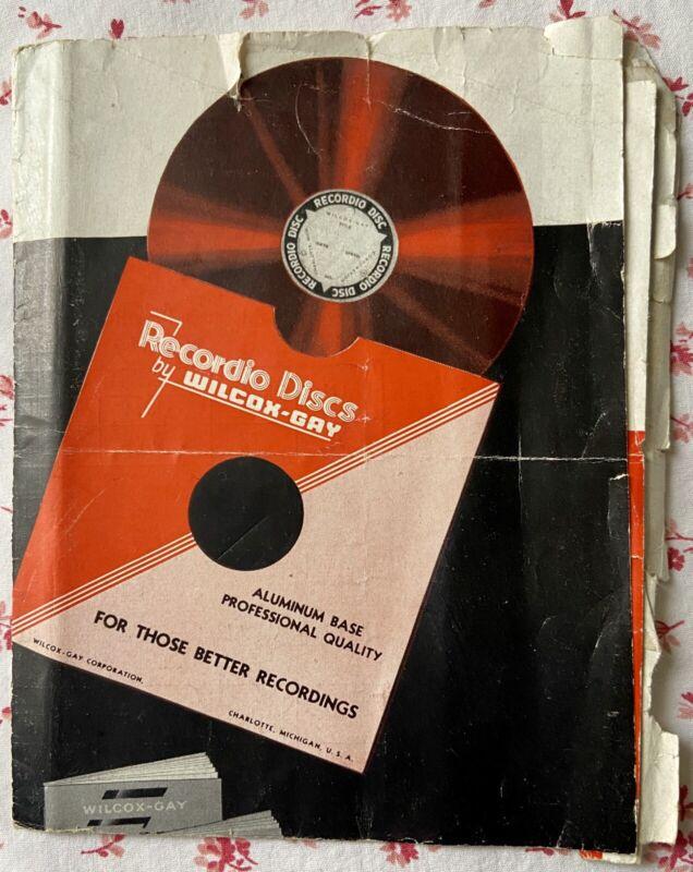 Vintage Recordio Discs by Wilcox-Gay Gen'l Description Technical Info Ad