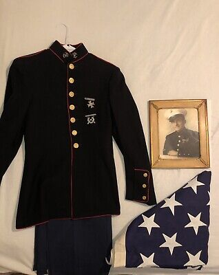 Vintage USMC Dress Blues With Pins, Flag And Photo