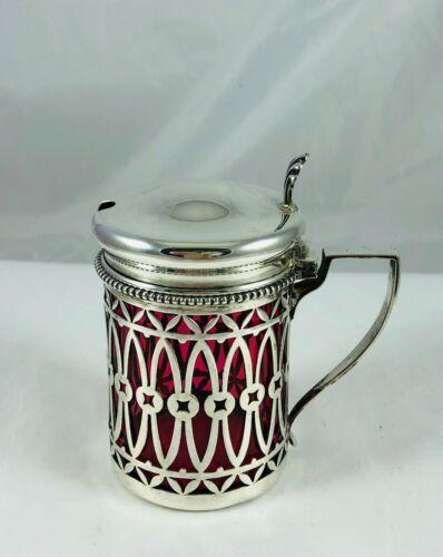 Antique Sterling Silver Pierced&Cranberry Glass Liner Mustard Condiment Jar