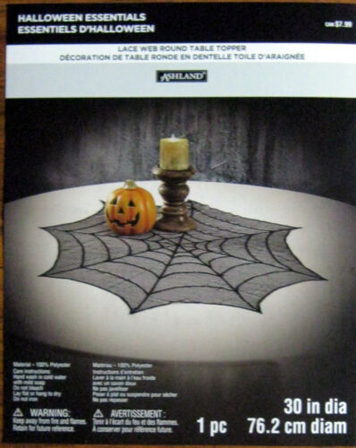 BLACK SPIDER WEB LACE TABLE TOPPER NEW