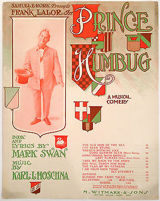 "SHEET MUSIC STORE POSTER ""PRINCE OF HUMBUG"" THEATRE ADVERTISING LARGE FORMAT"