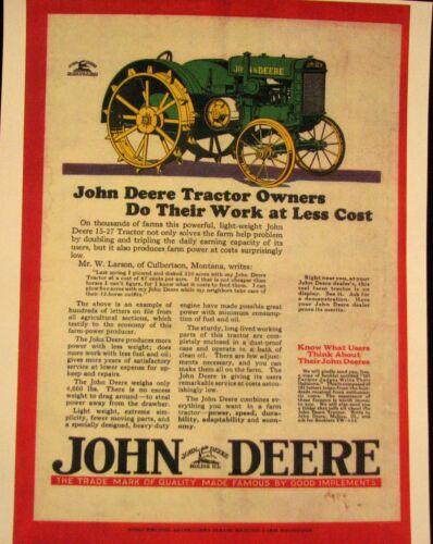 """1927 John Deere -(FRAMED)   Magazine  ad  Full  Color  Ad  8.5 X 11 """""""