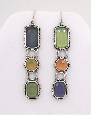 Vintage Multi-Colored Faux Gemstone Link Dangle Drop Statement Earrings