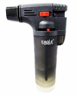 Windproof Butane Jet Lighter - Eagle Jet Torch Gun Lighter Adjustable Flame Windproof Butane Refillable - BLACK