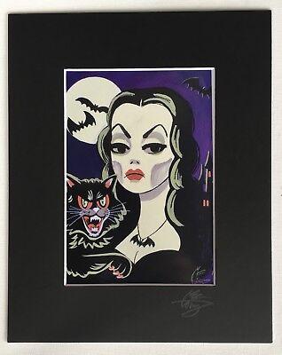 EL GATO GOMEZ HALLOWEEN VAMPIRA VAMPIRE BEISTLE CAT RETRO MONSTER POP ART PRINT - Halloween Art Prints